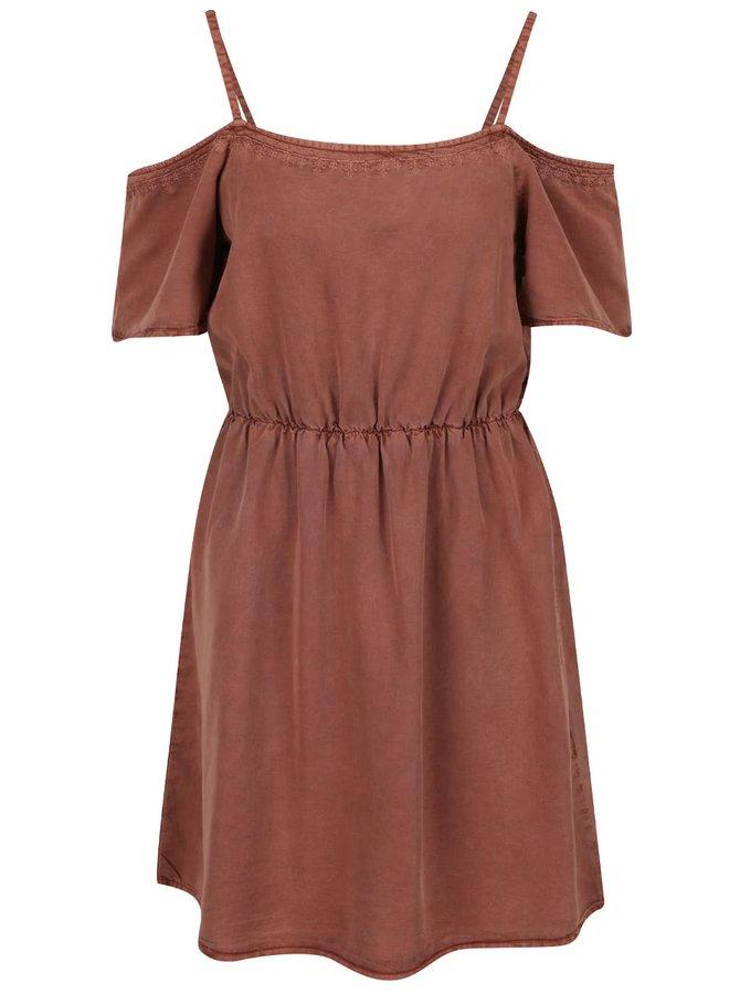 Hnědé šaty s odhalenými rameny VERO MODA Zoe