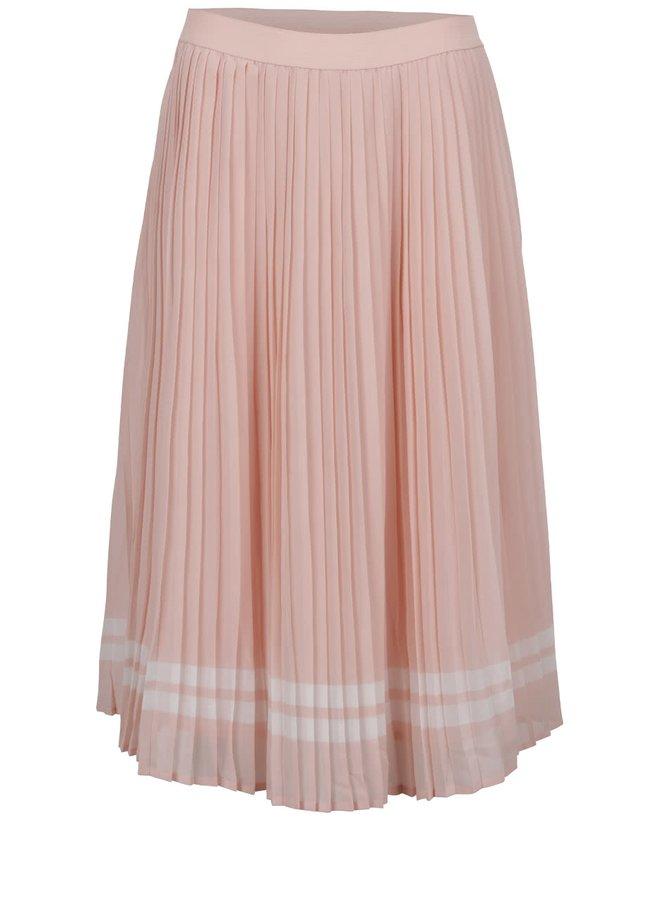 Světle růžová plisovaná midi sukně s bílými pruhy ONLY Lea