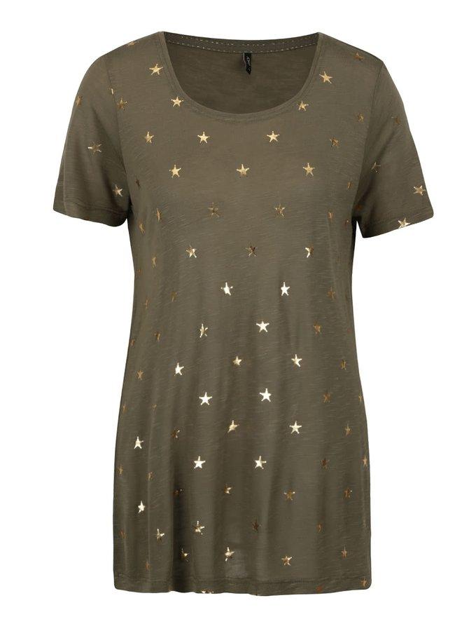 Khaki vzorované tričko ONLY Janie
