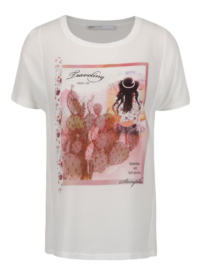 Tricou crem ONLY Storry As Sample cu imprimeu