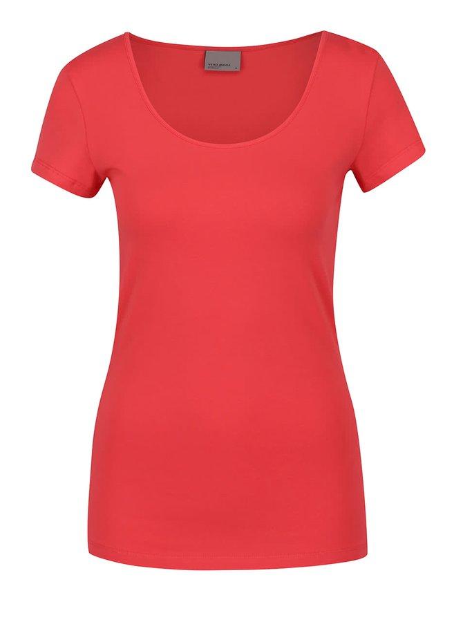 Korálové basic tričko s krátkým rukávem VERO MODA Maxi My