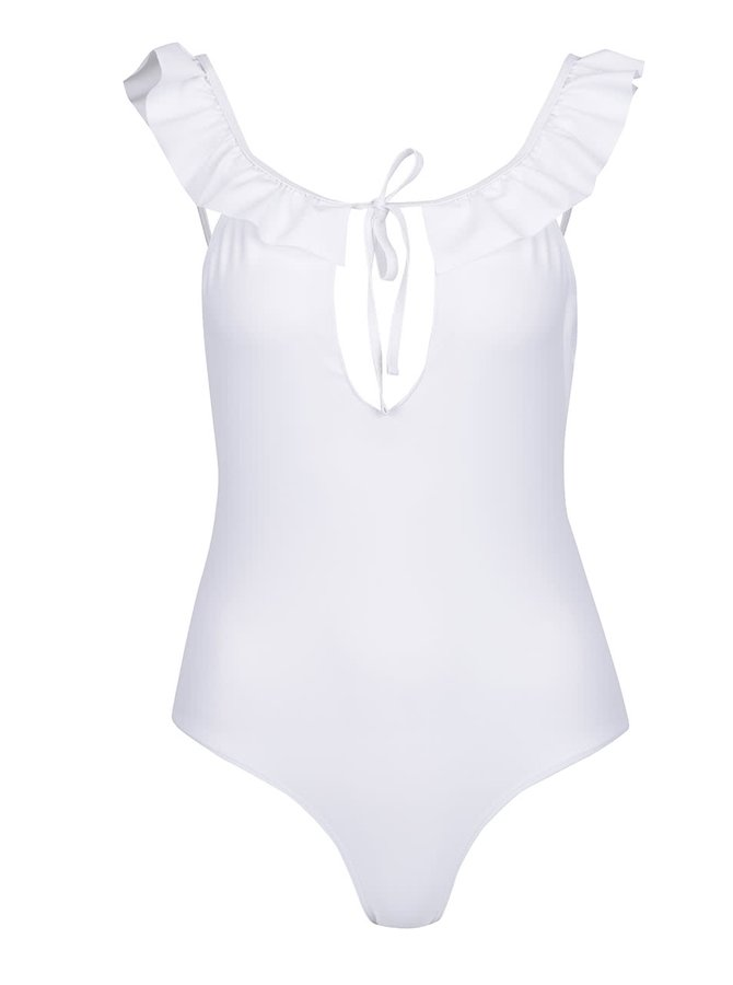 Bílé jednodílné plavky s volány VERO MODA Lauren