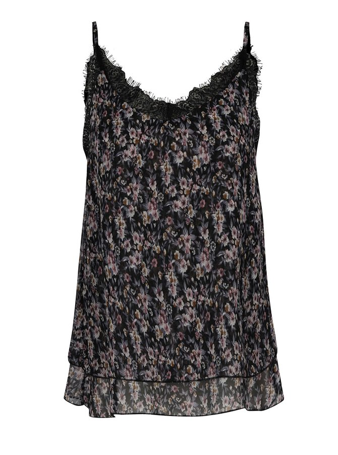 Top negru  Haily´s Yessi cu model floral