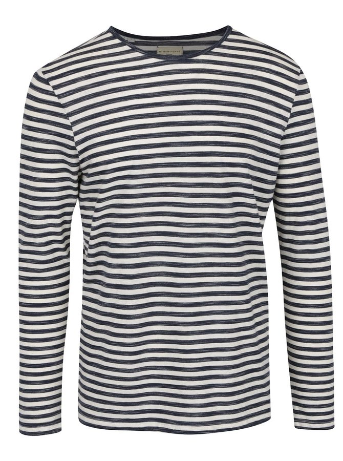 Modro-krémové pruhované triko Selected Homme Freddy