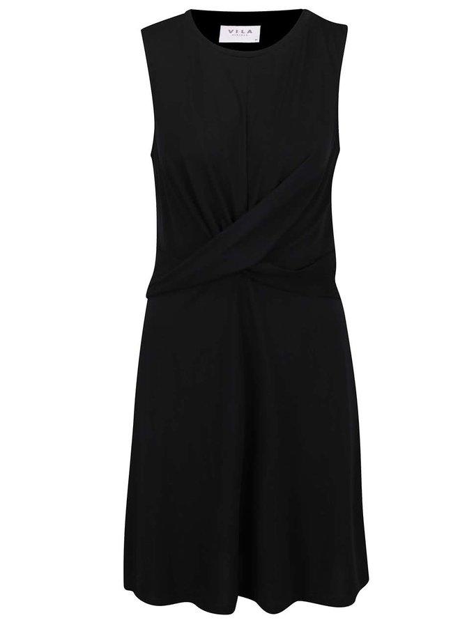 Rochie neagră VILA Munik cu model petrecut