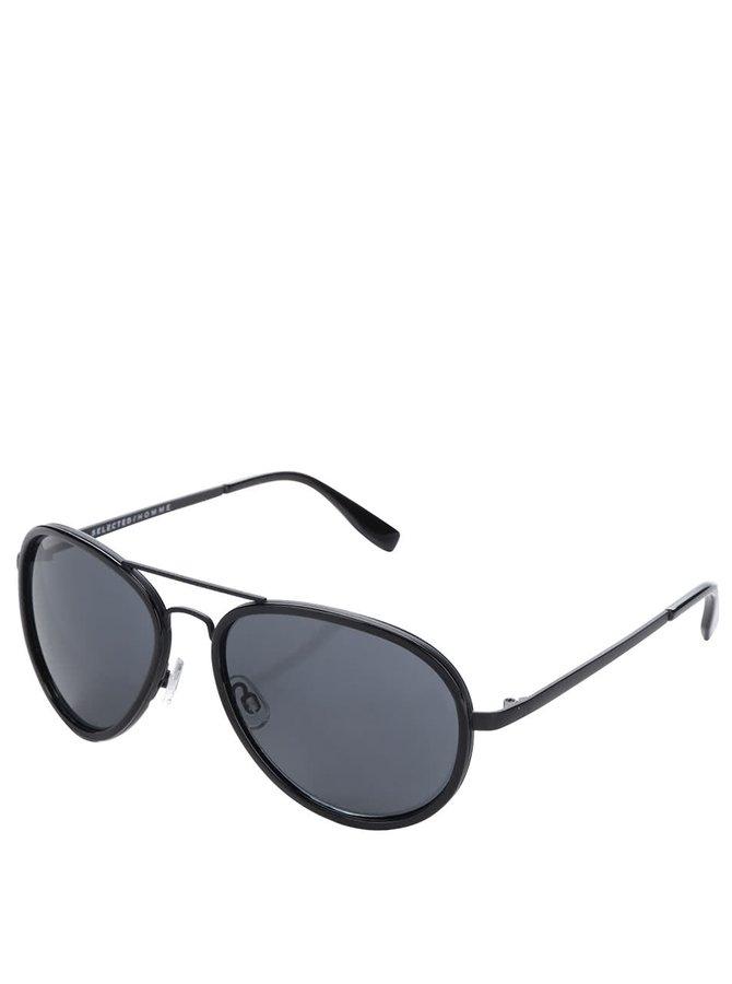 Černé sluneční letecké brýle Selected Homme Carl