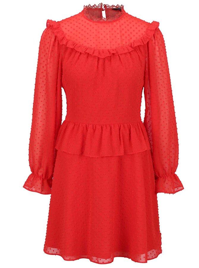 Červené šaty s volány Miss Selfridge