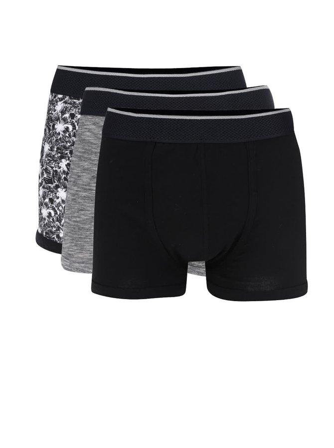 Sada tří černých a šedých boxerek Burton Menswear London