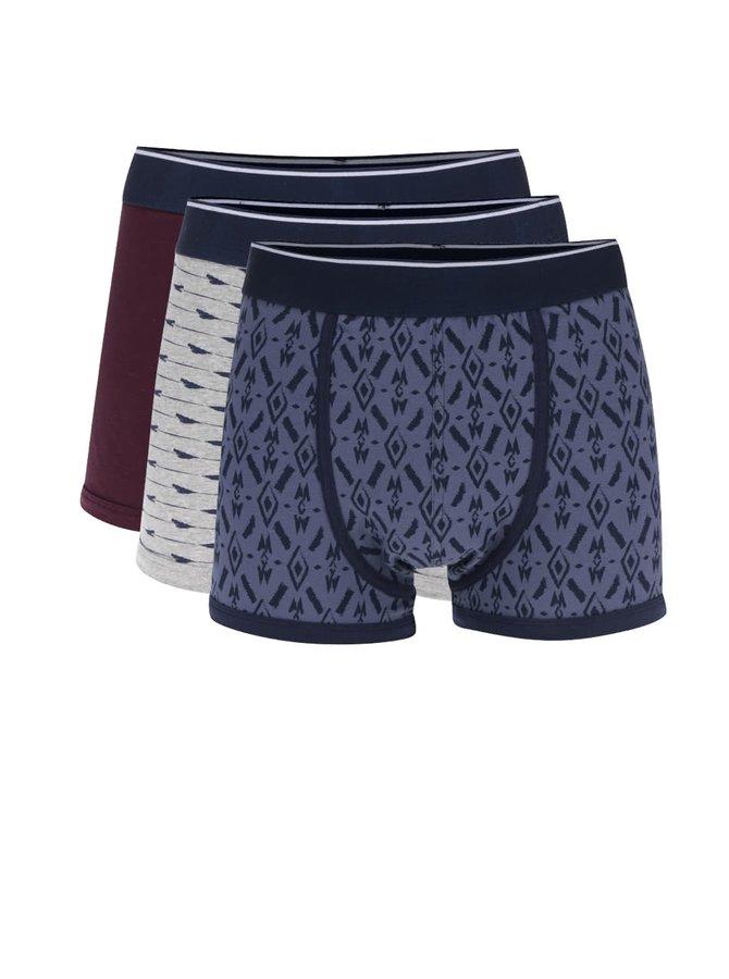 Sada tří vínových a modrých vzorovaných boxerek Burton Menswear London