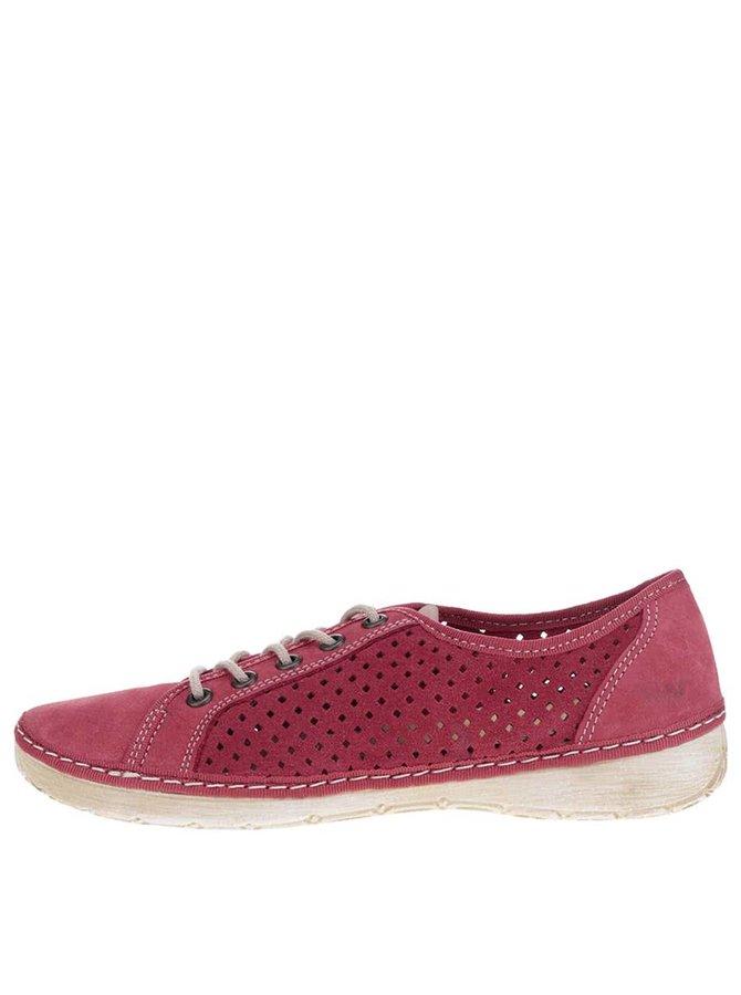 Pantofi casual roșii de damă Weinbrenner din piele naturală