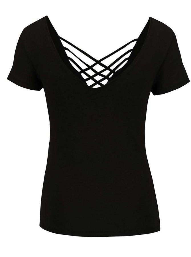 Černé tričko s pásky v dekoltu Miss Selfridge