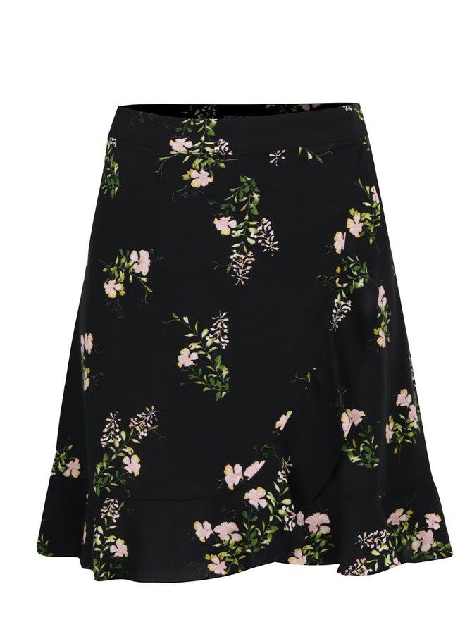 Černá květovaná sukně s volánem Dorothy Perkins