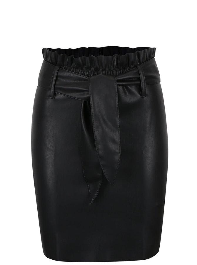 Černá koženková pouzdrová sukně Miss Selfridge