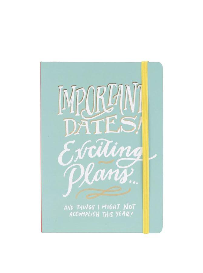 Světle zelený týdenní plánovací diář na 13 měsíců Galison A5