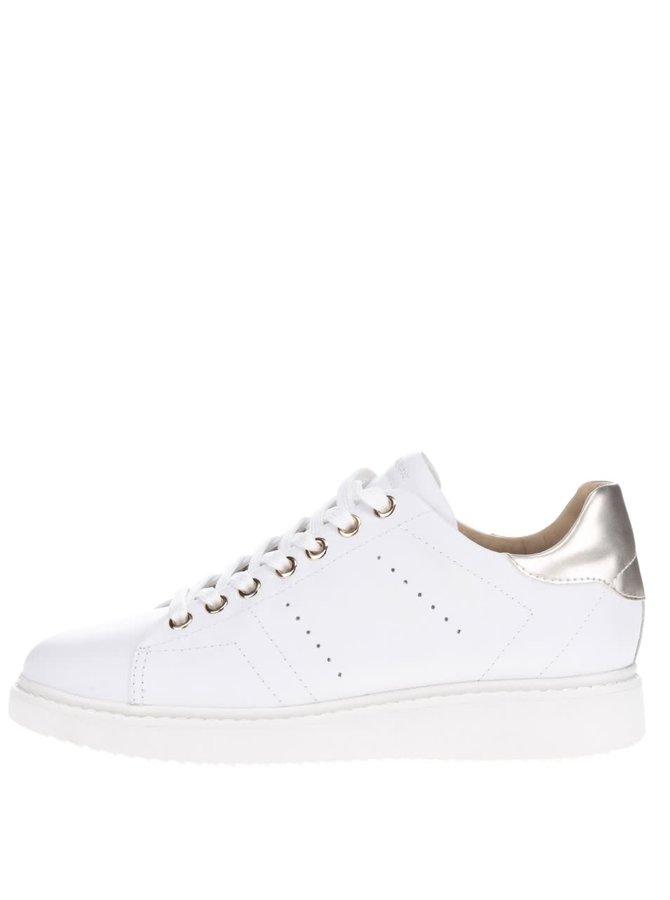 Pantofi sport albi Geox Thymar cu detalii aurii