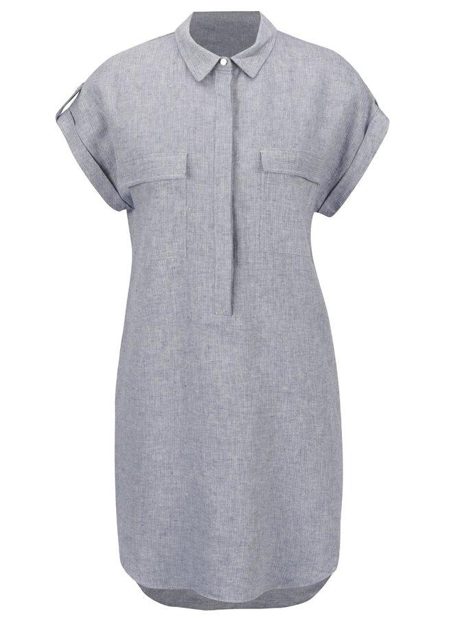 Šedé košilové lněné šaty Apricot