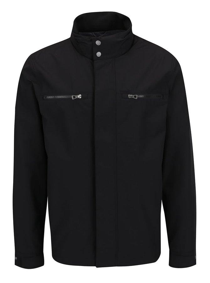 Černá pánská bunda se skrytou kapucí Geox