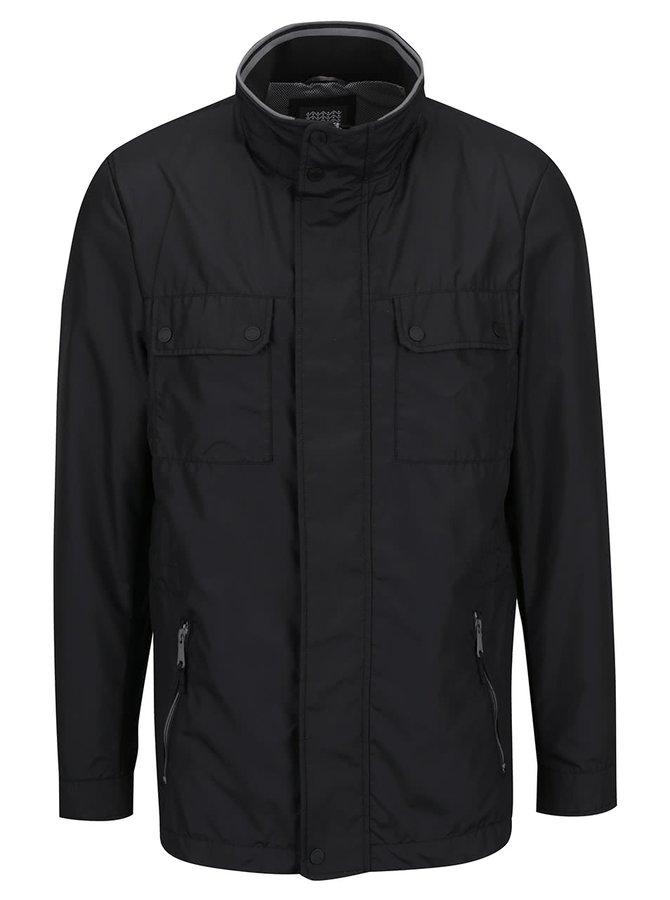Jachetă lunngă neagră impermeabilă Geox cu guler înalt și glugă ascunsă