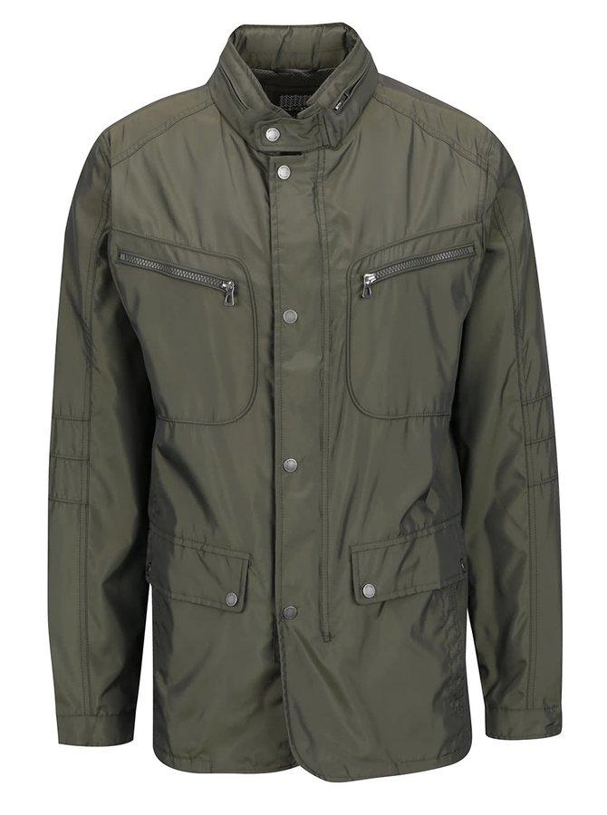 Jachetă lungă kaki Geox cu guler înalt și glugă ascunsă
