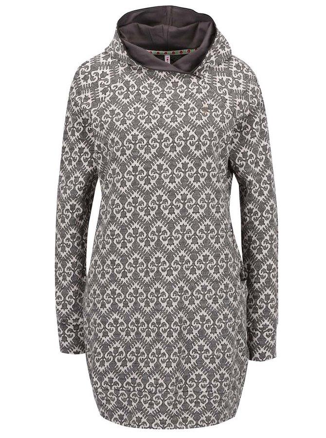 Krémovo-šedé vzorované mikinové šaty s kapucí Blutsgeschwister