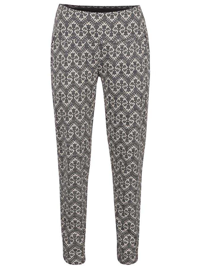 Krémovo-šedé vzorované kalhoty s vysokým pasem Blutsgeschwister