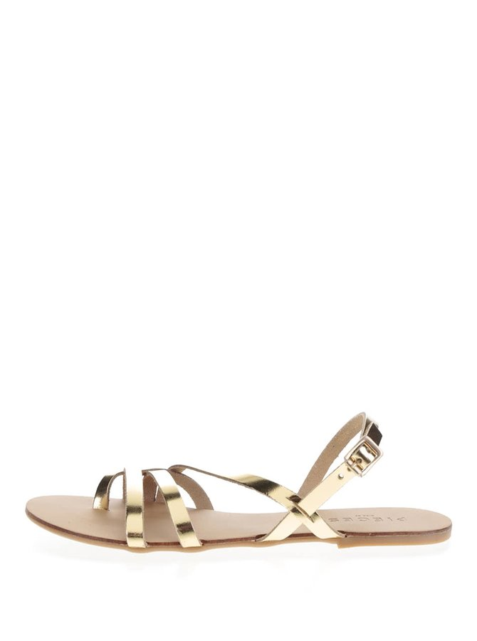 Kožené sandály ve zlaté barvě Pieces Lavina