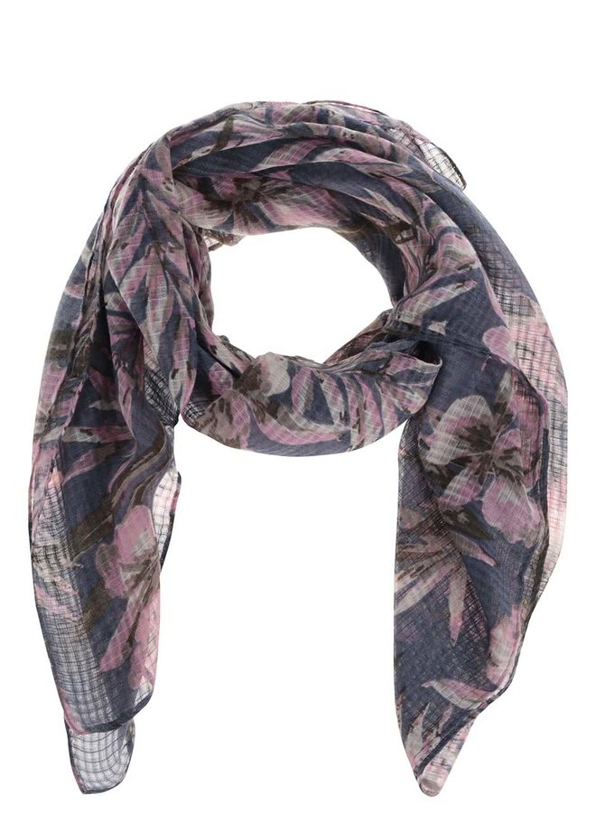 Růžovo-modrý květovaný šátek Pieces Slate