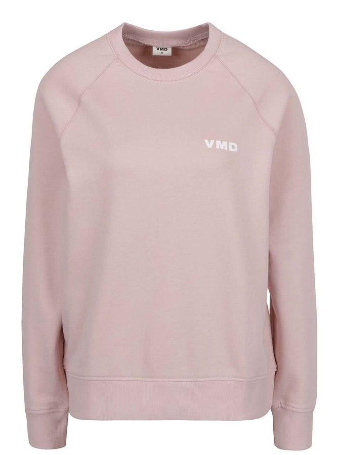 Bluză roz pal VERO MODA O-Neck din bumbac organic cu print