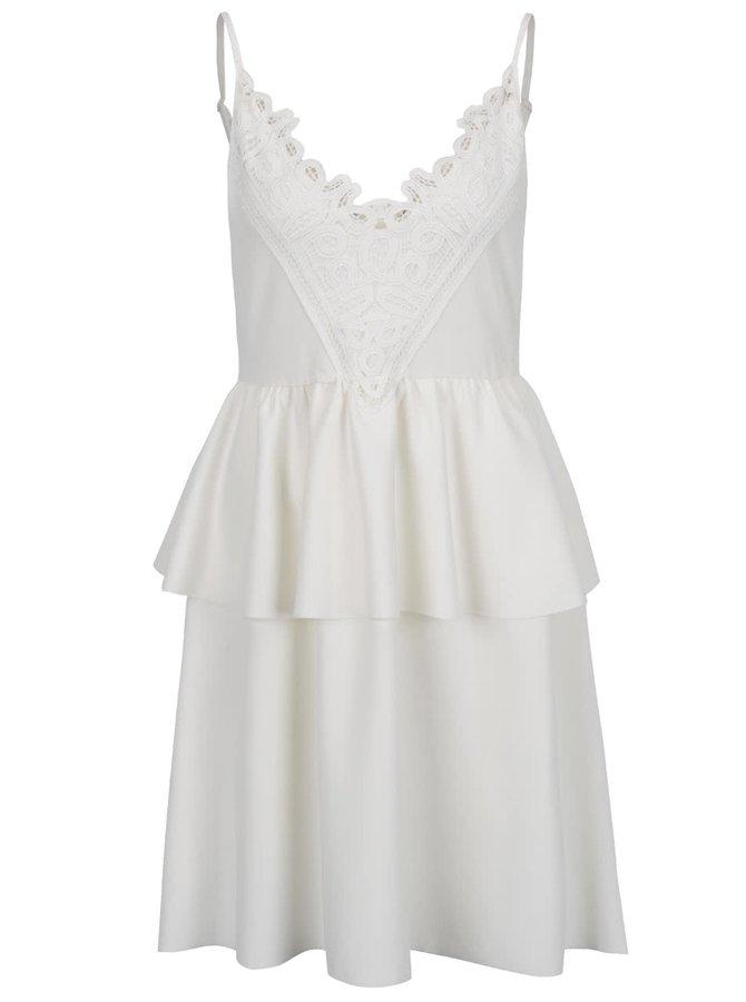 Krémové šaty s volánem VERO MODA Laury
