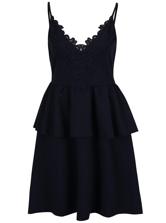 Tmavě modré šaty s volánem VERO MODA Laury