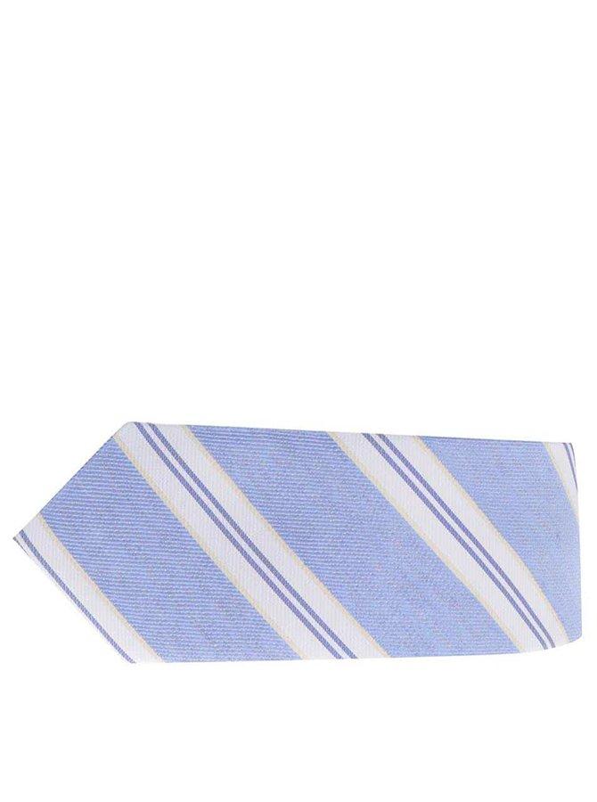 Světle modrá pruhovaná kravata s příměsí lnu Selected Homme Norman