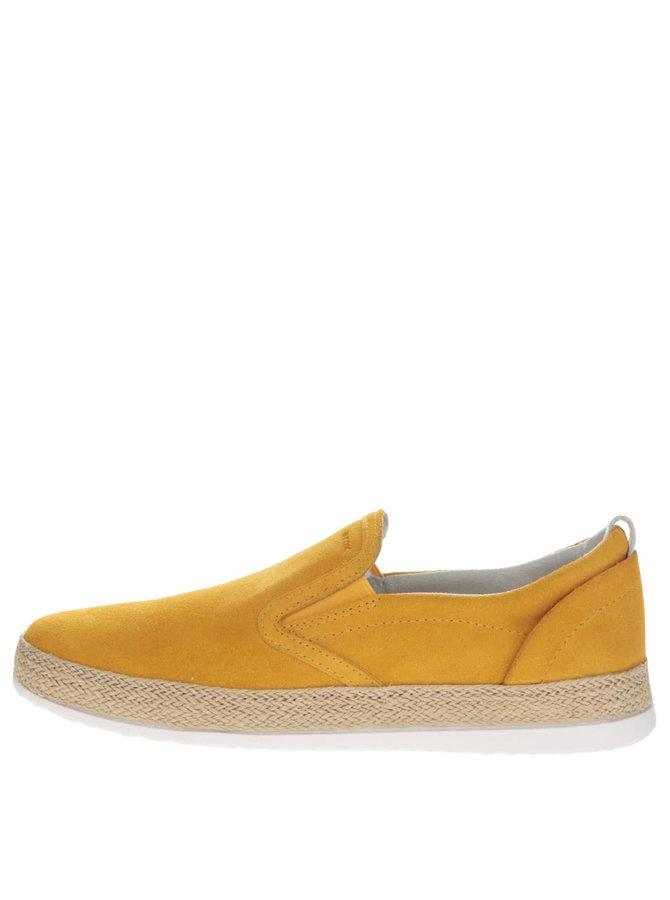 Žluté dámské semišové loafers Geox Maedrys