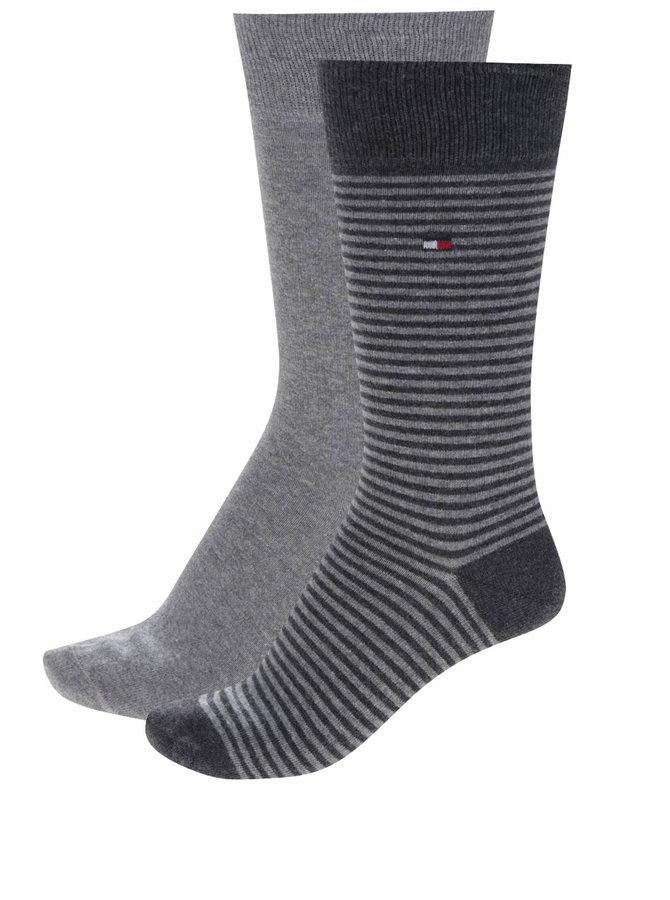 Sada dvou párů pruhovaných pánských ponožek v šedé barvě Tommy Hilfiger