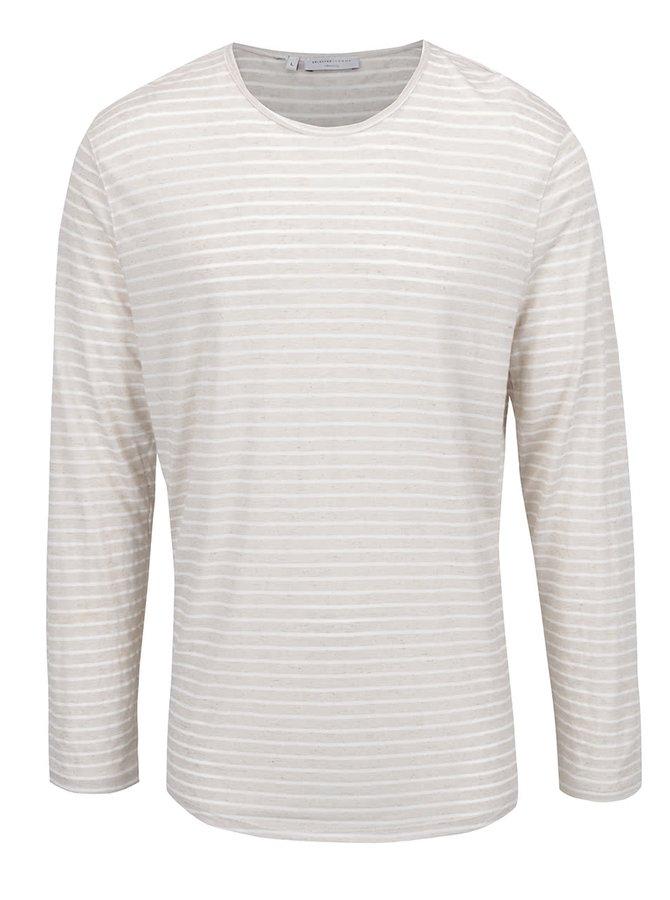 Bílo-béžové pruhované triko s příměsí lnu Selected Homme Liam