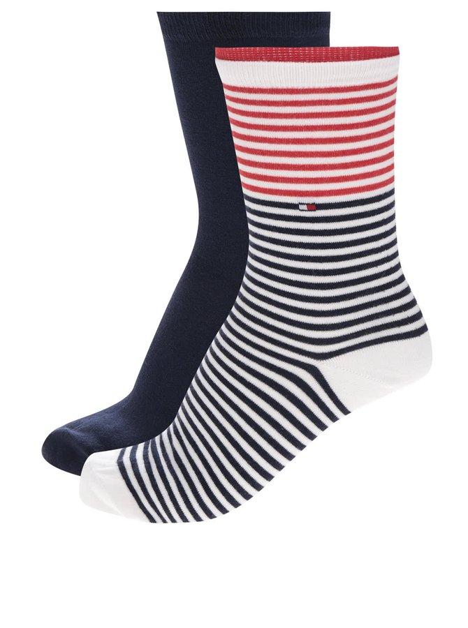 Sada dvou párů dámských ponožek v krémové a modré barvě Tommy Hilfiger Classy college