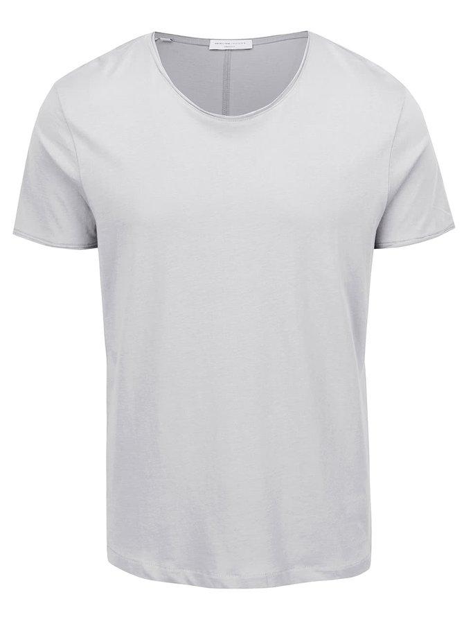 Krémové basic triko s krátkým rukávem Selected Homme Piper