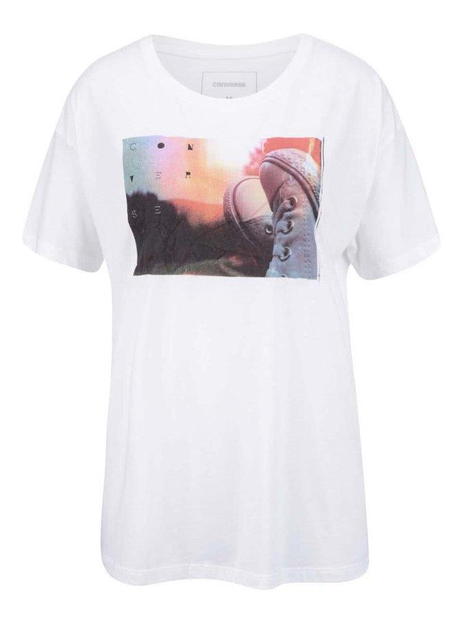 Krémové dámske tričko s farebnou potlačou Converse