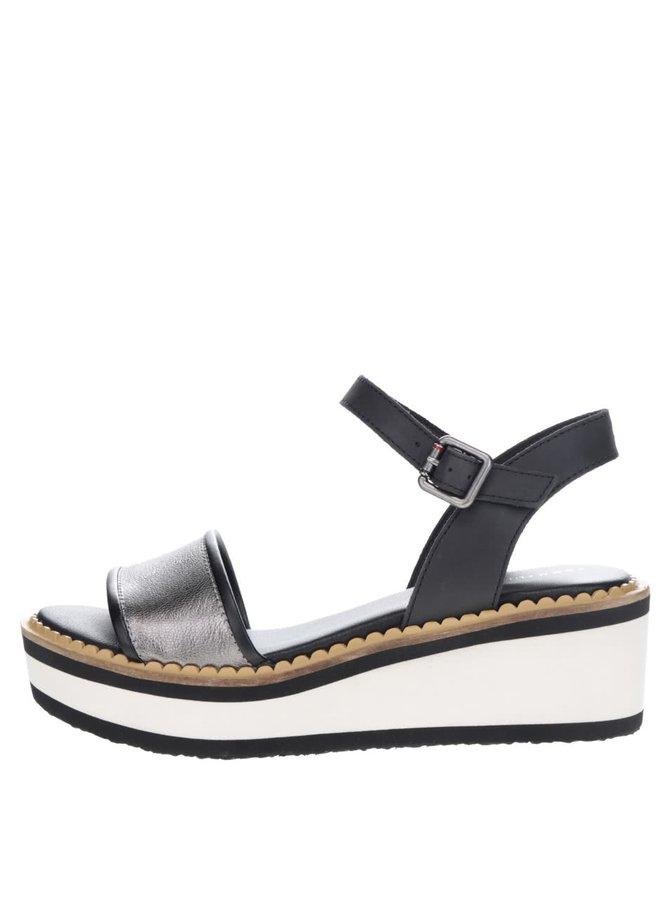 Krémovo-černé dámské sandály na platformě Tommy Hilfiger