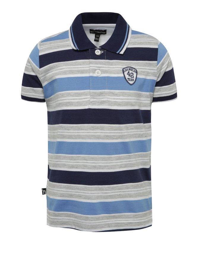Šedo-modré chlapecké pruhované polo triko Mix´n Match