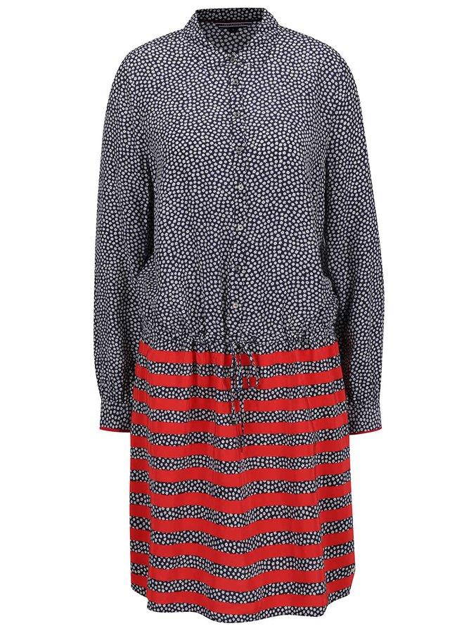 Tmavě modré dámské vzorované šaty s červenými pruhy Tommy Hilfiger
