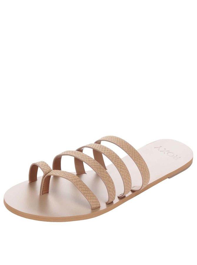 Papuci flip-flop maro deschis Roxy Mattie
