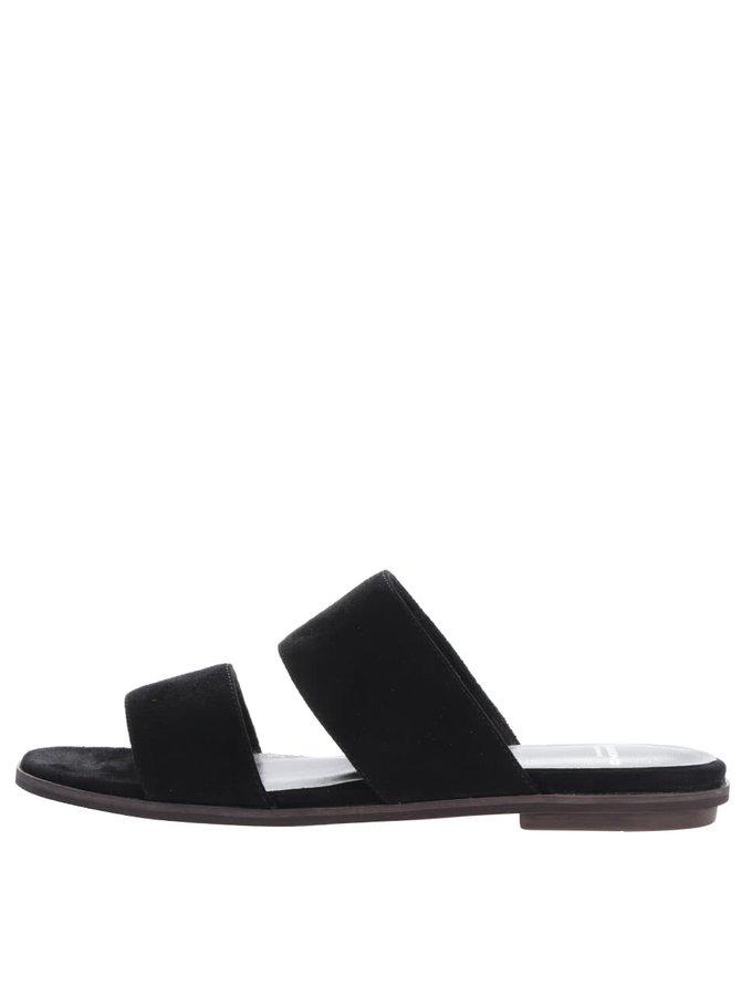 Papuci slide negri Vagabond Natalia din piele întoarsă