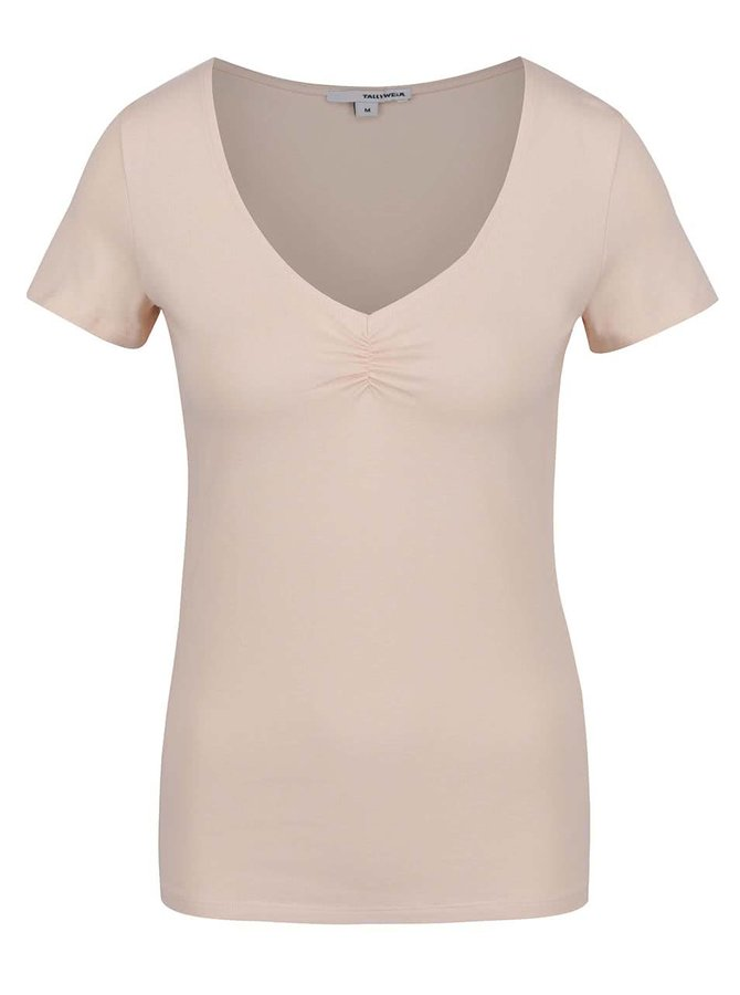 Světle růžové tričko s řasením v dekoltu TALLY WEiJL