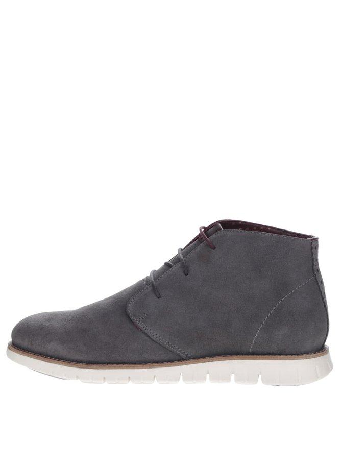 Šedé semišové kotníkové boty London Brogues Gatz Hi