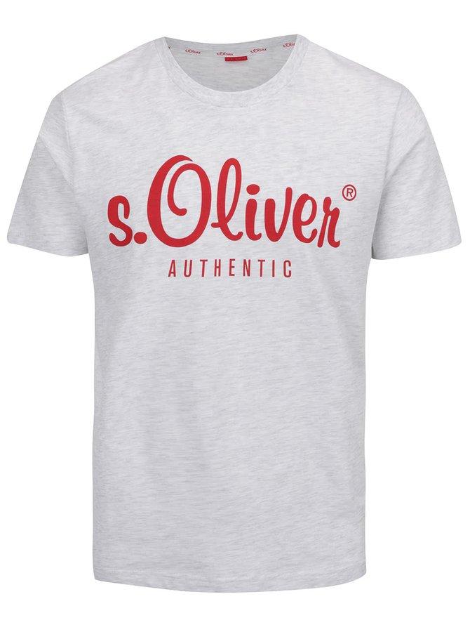 Šedé žíhané pánské triko s červeným potiskem s.Oliver