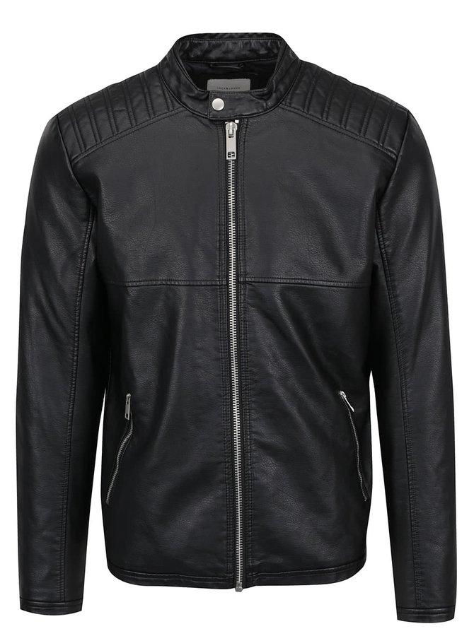 Černá koženková bunda se zipy Jack & Jones Tango