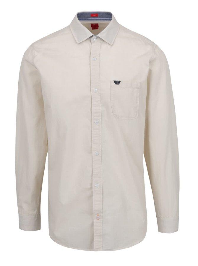 Krémová pánská košile s kapsou s.Oliver