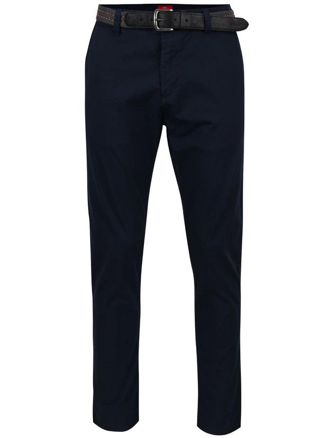 Pantaloni albastru închis s.Oliver cu curea neagră