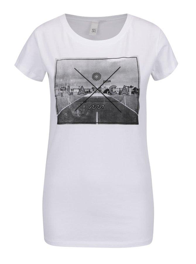 Tricou alb QS by s.Oliver din bumbac cu print