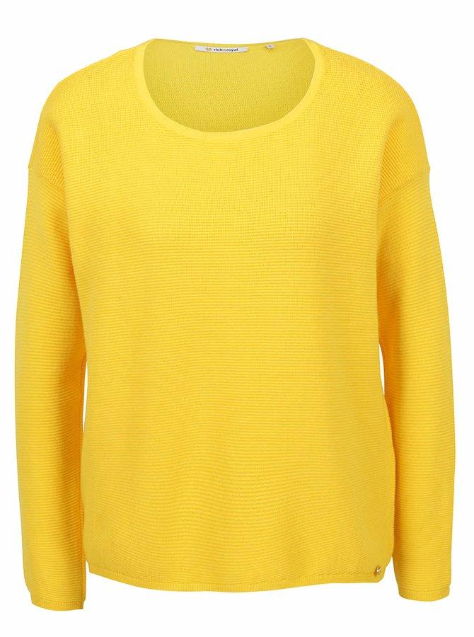 Bluză galbenă închis Rich & Royal din jerseu